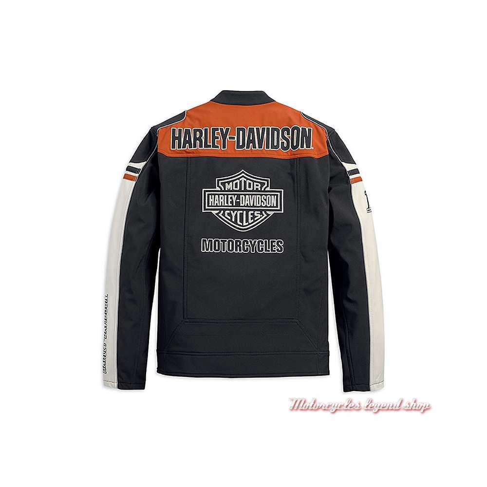 Blouson polaire Colorblock Harley-Davidson homme, soft shell, polyester, noir, orange, écru, dos, 98405-19VM
