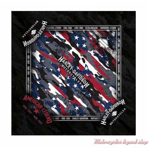 Bandana Patriotic Grunge Harley-Davidson, polyester, rouge, blanc, bleu, BA29084
