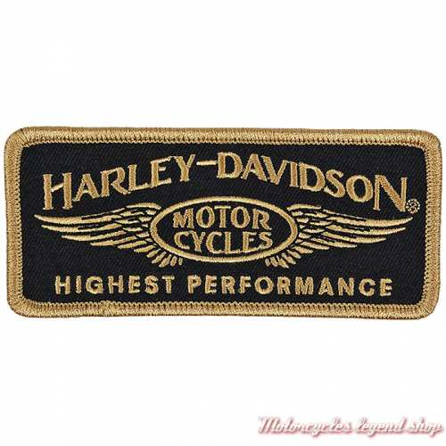 Patch Highest Performance Harley-Davidson, brodé, noir, doré, EM336772