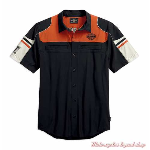 Chemisette Performance Colorblock Harley-Davidson homme, polyester coolcore, noir, orange, écru, 99189-19VM