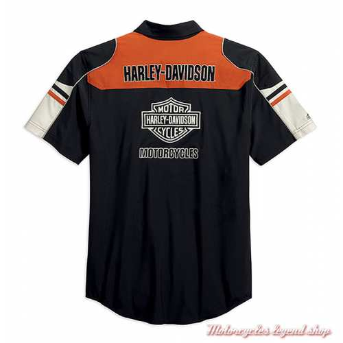 Chemisette Performance Colorblock Harley-Davidson homme, polyester coolcore, noir, orange, écru, dos, 99189-19VM