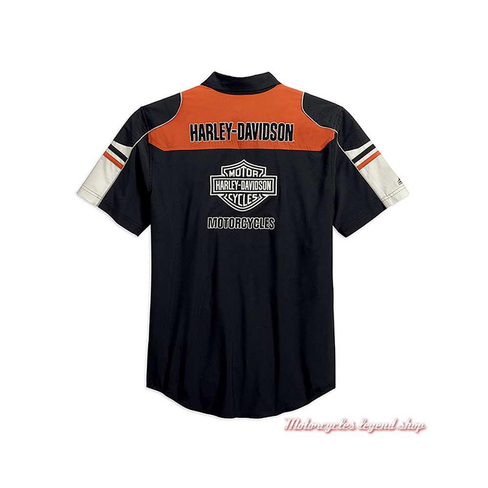 Chemisette Performance Colorblock Harley-Davidson homme, polyester coolcore, noir, orange, écru, dos, 99189-19VM