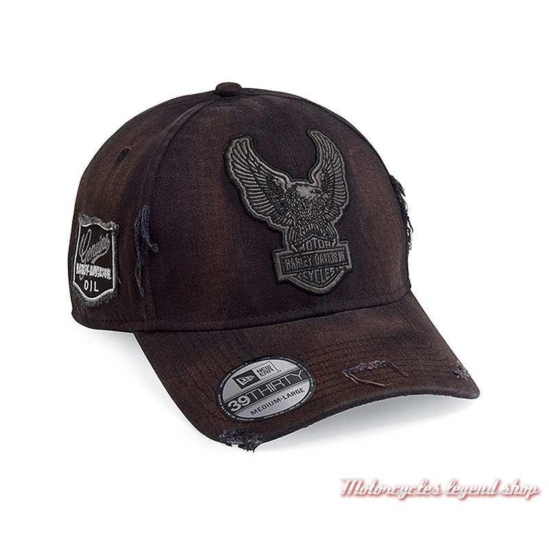 Casquette Upright Eagle Patch Harley-Davidson homme, noir vieilli, extensible, 99436-18VM