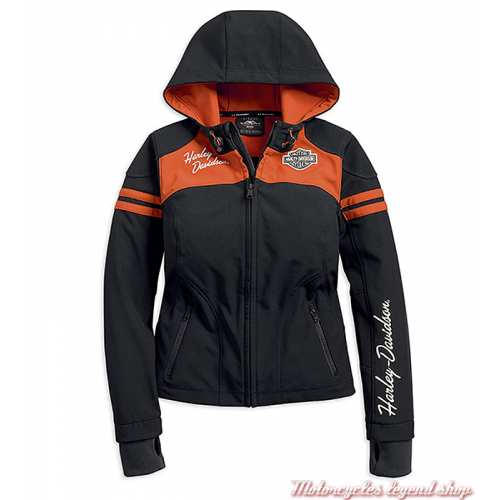 Blouson Miss Enthusiast Soft Shell Harley-Davidson femme, à capuche, polyester, noir, orange, 98408-19VW