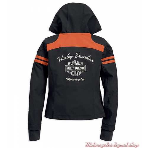 Blouson Miss Enthusiast Soft Shell Harley-Davidson femme, à capuche, polyester, noir, orange, dos, 98408-19VW