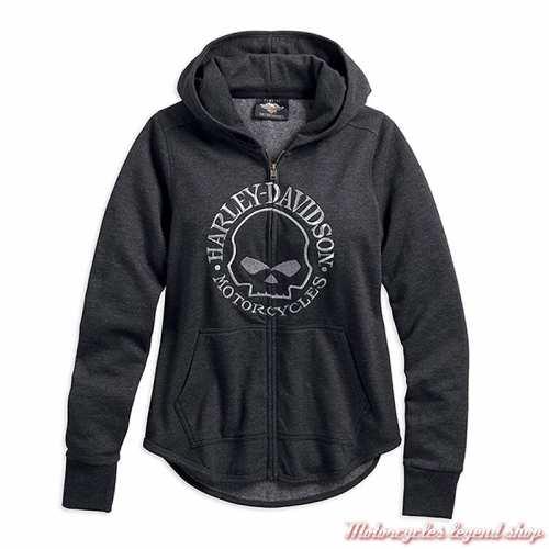 Sweatshirt Metallic Skull Harley-Davidson femme, zippé, à capuche, gris, coton, molleton, 99239-19VW