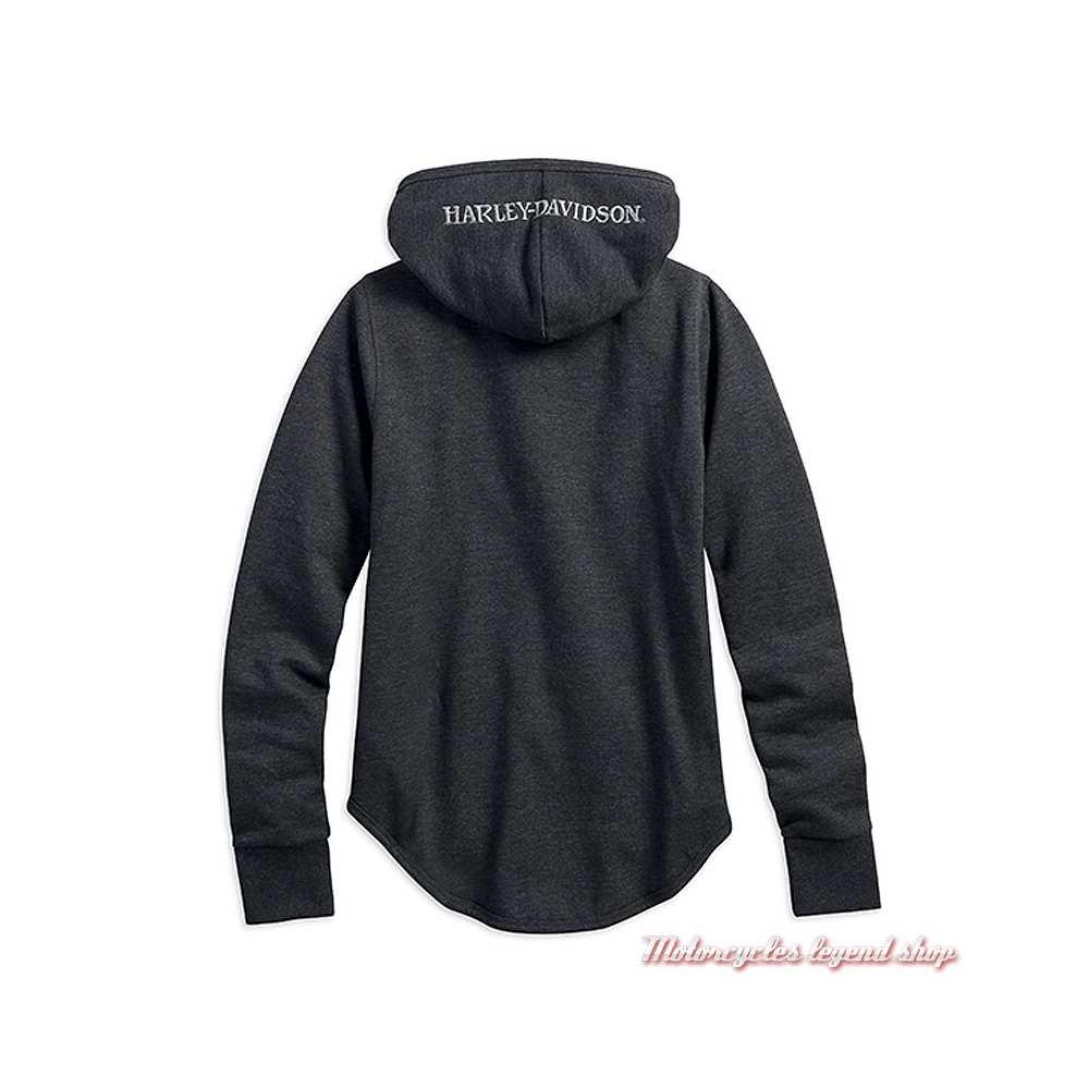 Sweatshirt Metallic Skull Harley-Davidson femme, zippé, à capuche, gris, coton, molleton, dos, 99239-19VW