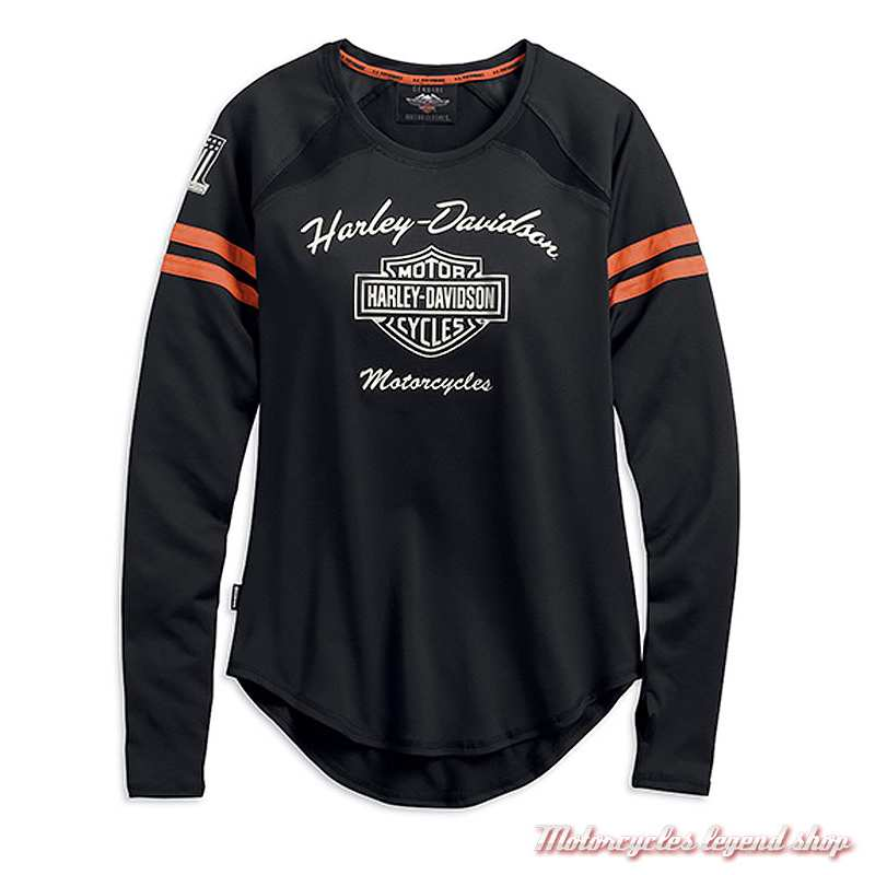 Tee-shirt Performance Harley-Davidson femme, manches longues, polyester coolcore, noir, orange, 99225-19VW
