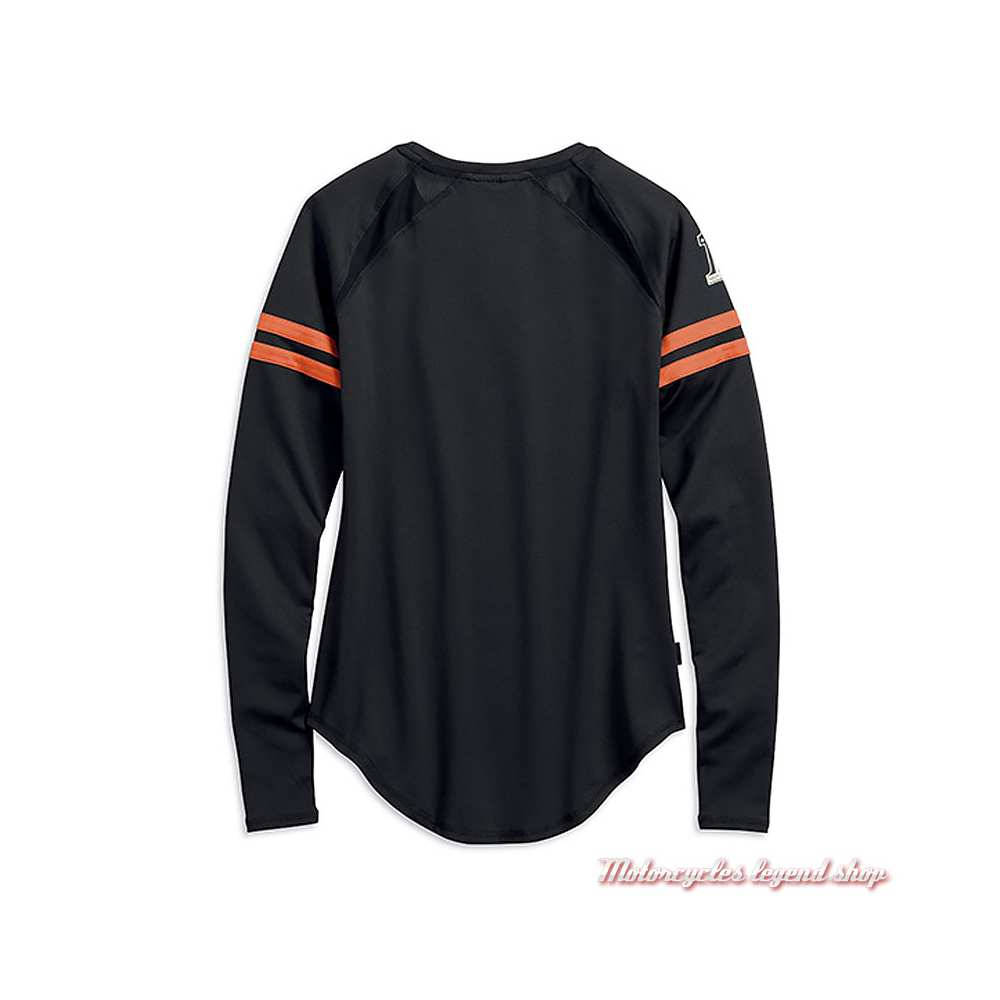 Tee-shirt Performance Harley-Davidson femme, manches longues, polyester coolcore, noir, orange, dos, 99225-19VW