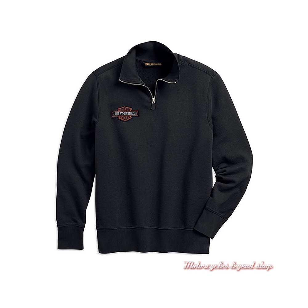 Sweatshirt Felt Letter Harley-Davidson homme, col zip, noir, coton, vintage, 99289-19VM