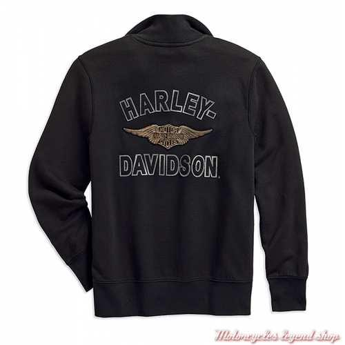 Sweatshirt Felt Letter Harley-Davidson homme, col zip, noir, coton, vintage, dos, 99289-19VM