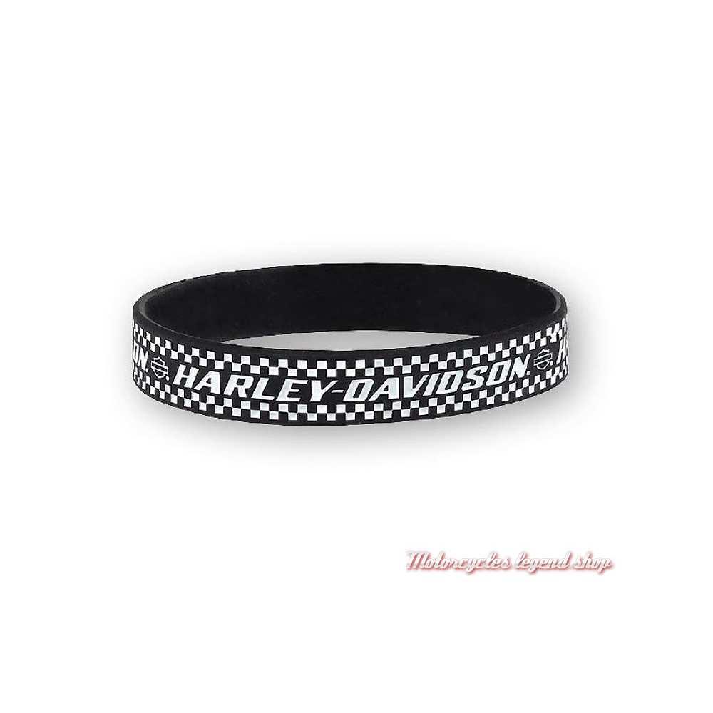 Bracelet silicone Ignition Harley-Davidson, noir, blanc, WB33430