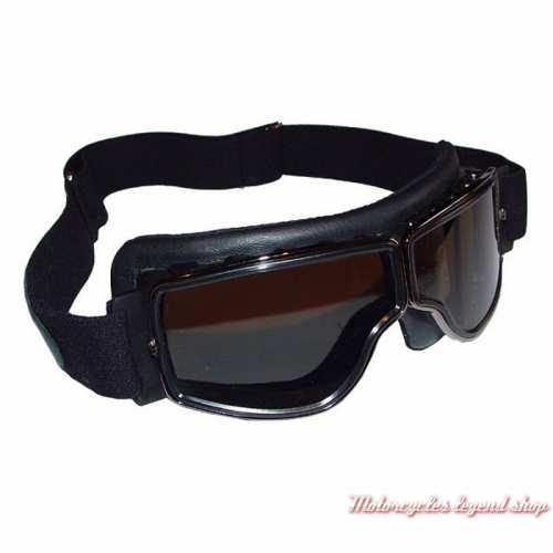 Lunettes Aviator Goggle mixte noir, cercle gun, oculaire fumé, Leon Jeantet, T2CHFG