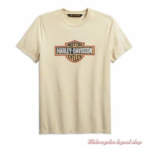 Tee-shirt Harley-Davidson Crackle Logo écru homme