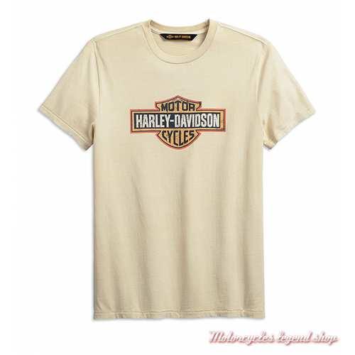 Tee-shirt Crackle Logo écru Harley-Davidson homme, manches courtes, gris foncé, coton, 99001-19VM