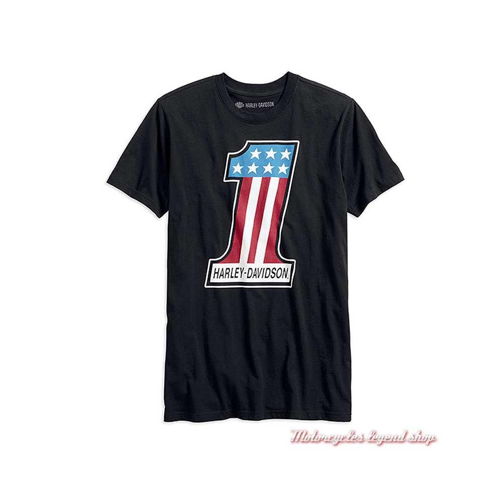 Tee-shirt One Retro Harley-Davidson homme, manches courtes, noir, coton, vintage, 99215-19VM