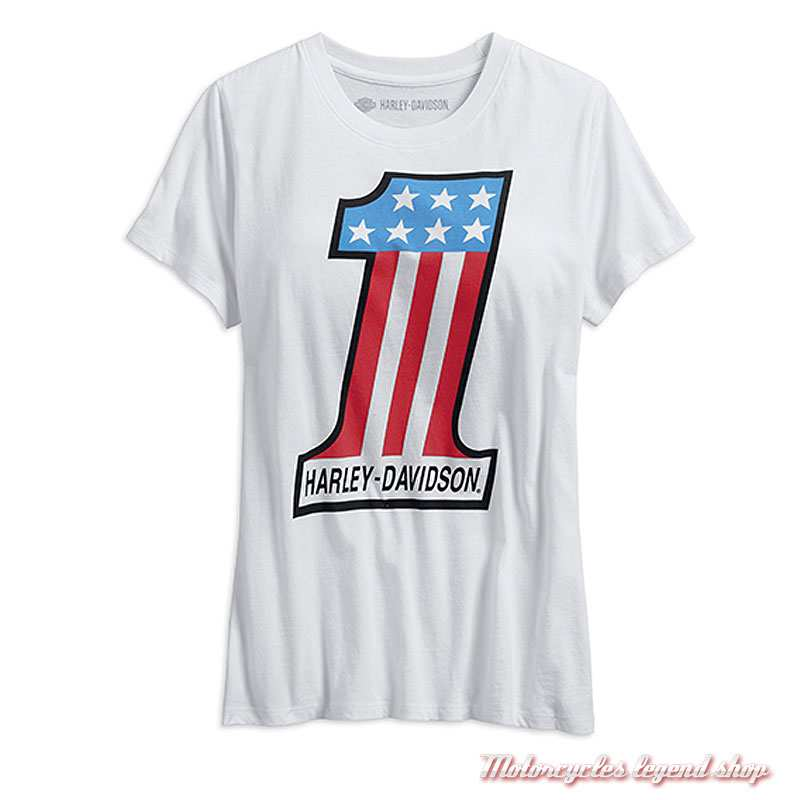 Tee-shirt One Retro Harley-Davidson femme, manches courtes, blanc, coton, vintage, 99238-19VW