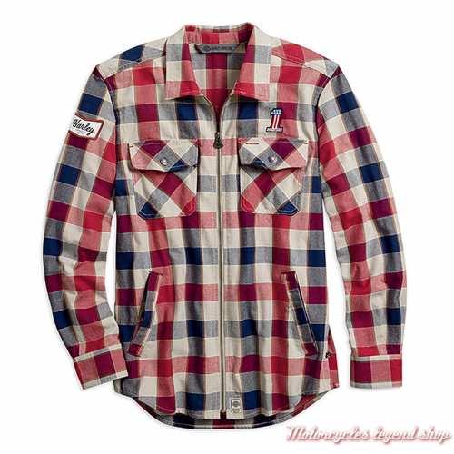 Chemise à carreaux zippée Harley-Davidson homme, coton épais, bleu, écru, rouge, slim, 99194-19VM