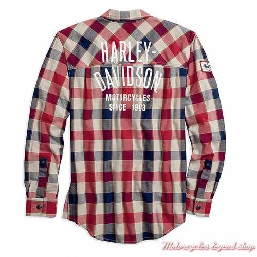 Chemise à carreaux zippée Harley-Davidson homme, coton épais, bleu, écru, rouge, slim, dos, 99194-19VM