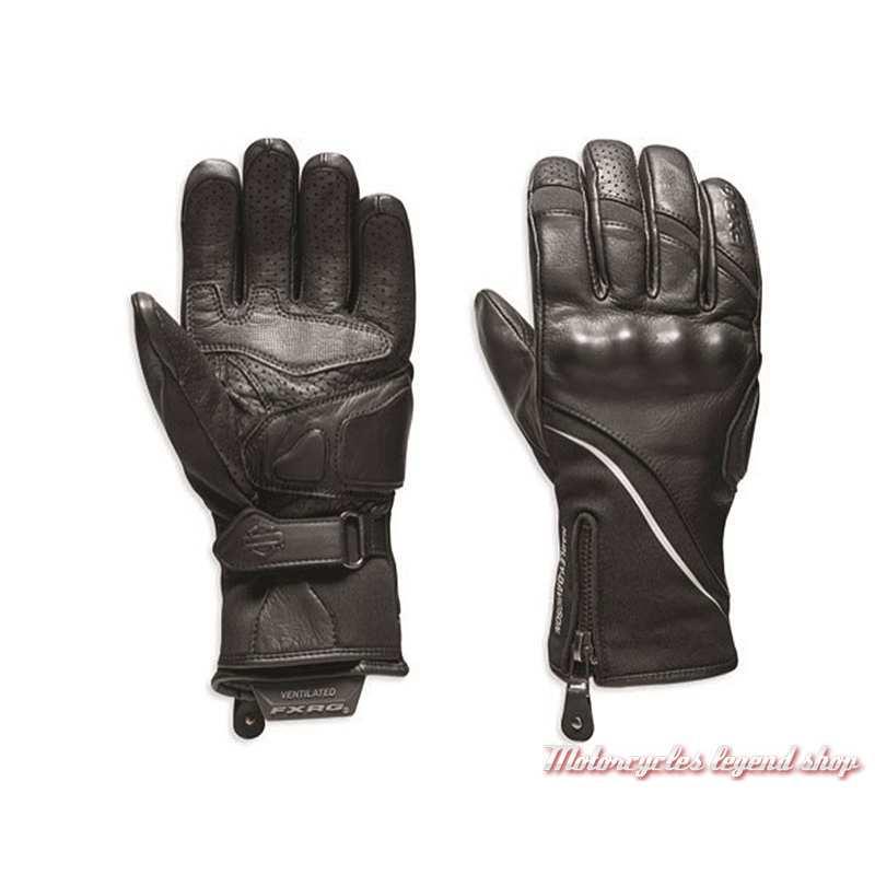 Gants Dual Chamber Harley-Davidson femme, FXRG, noir, cuir, néoprène, 98272-19EW