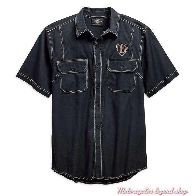 Chemisette Piston Graphic Harley-Davidson homme, coton, bleu pétrole, 96642-19VM