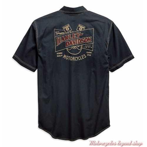 Chemisette Piston Graphic Harley-Davidson homme, coton, bleu pétrole, dos, 96642-19VM