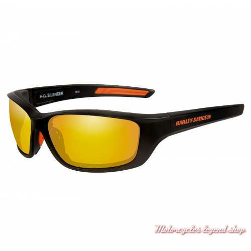 Lunettes solaires Silencer orange Harley-Davidson, noir mat, verre orange mirror, HASIL14