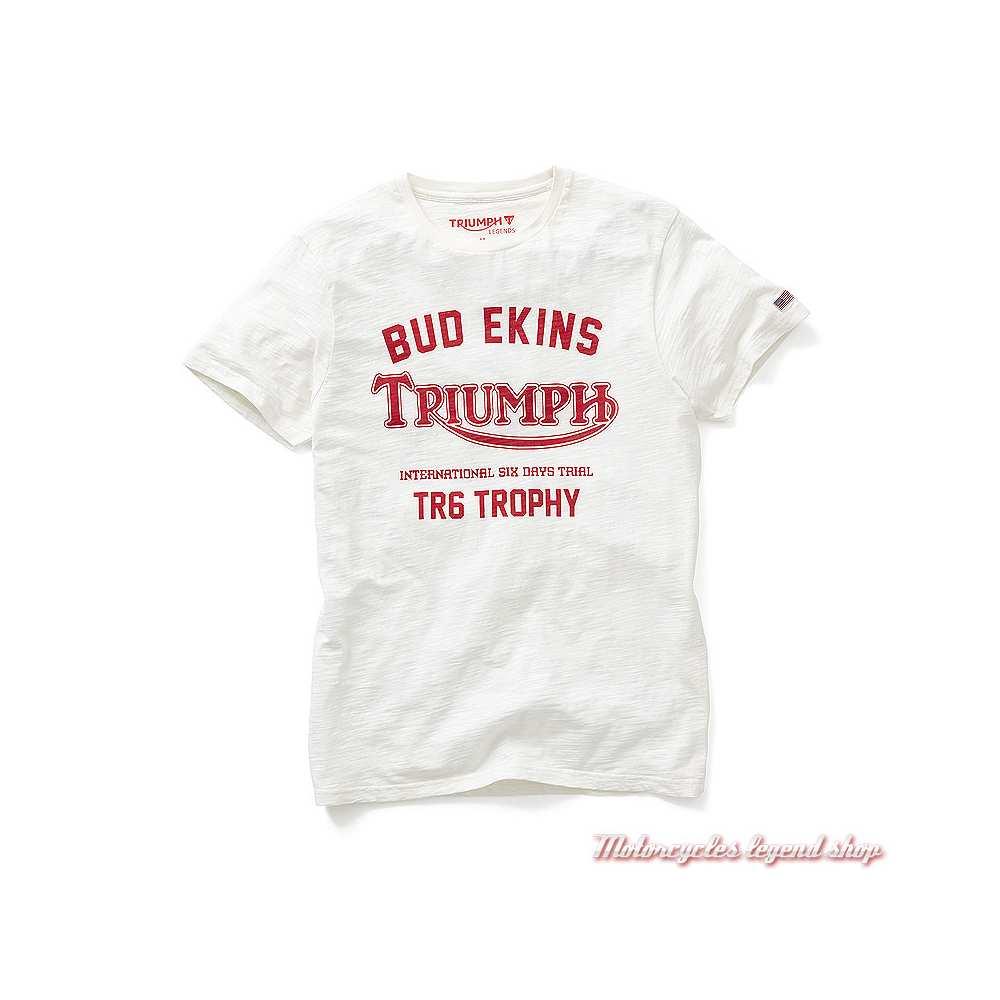 Tee-shirt Nevada Triumph homme, blanc, manches courtes, coton, MTSS19103