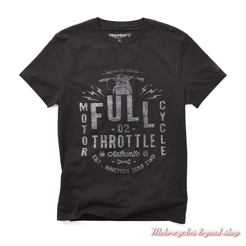 Tee-shirt Prentis Triumph homme, noir, manches courtes, coton, MTSS19301
