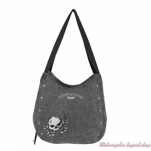Sac à main Skull femme Harley-Davidson, coton canvas, gris, WDD5318-black