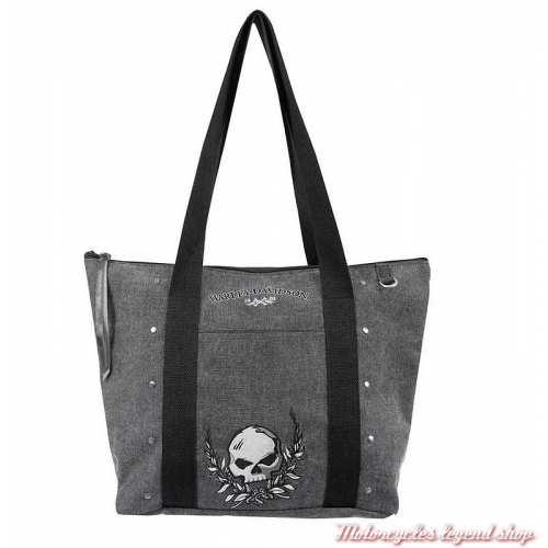 Sac cabas Skull femme Harley-Davidson, gris, coton canvas, WDD5302-black