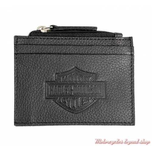 Porte cartes et monnaies B&S Harley-Davidson, cuir noir grainé, BSE6983-black