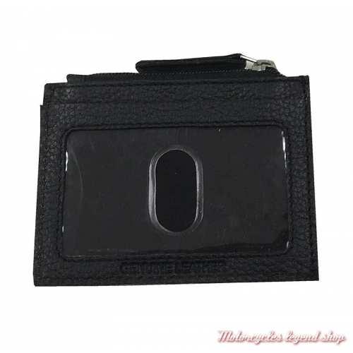 Porte cartes et monnaies B&S Harley-Davidson, cuir noir grainé, dos, BSE6983-black