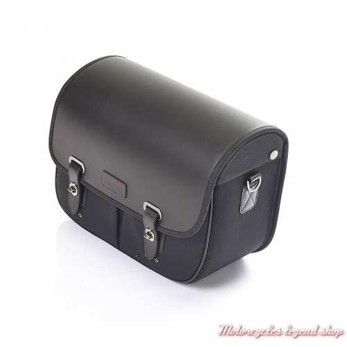 Sacoche latérale droite noire Triumph, cuir et coton noir, A9518207