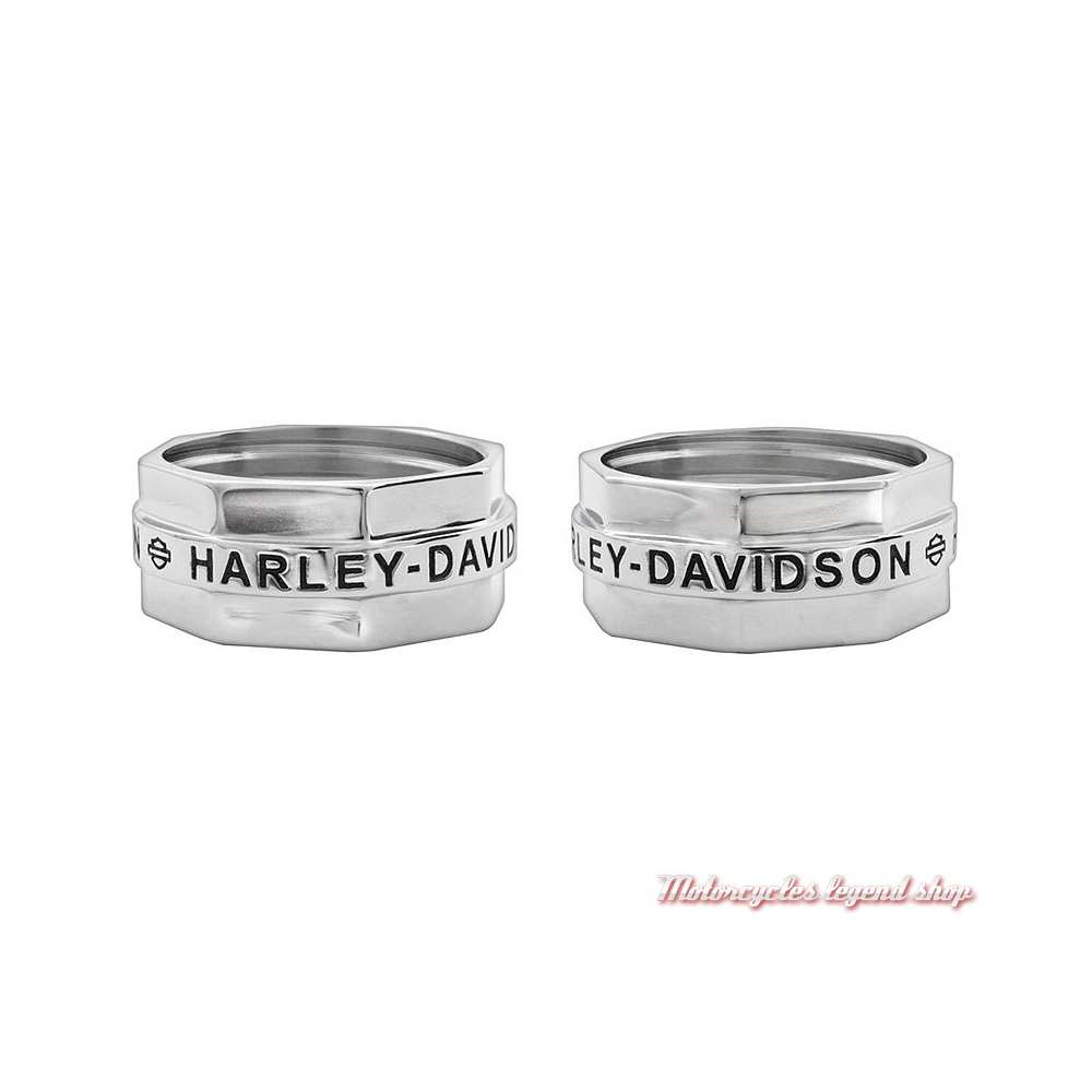 Bague acier écrou Harley-Davidson homme, HSR0018