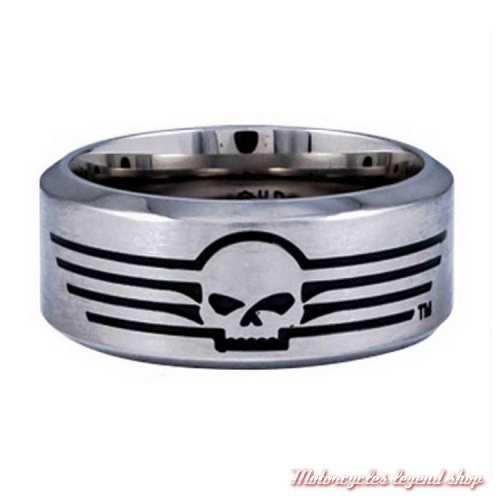 Bague acier Skull Harley-Davidson homme