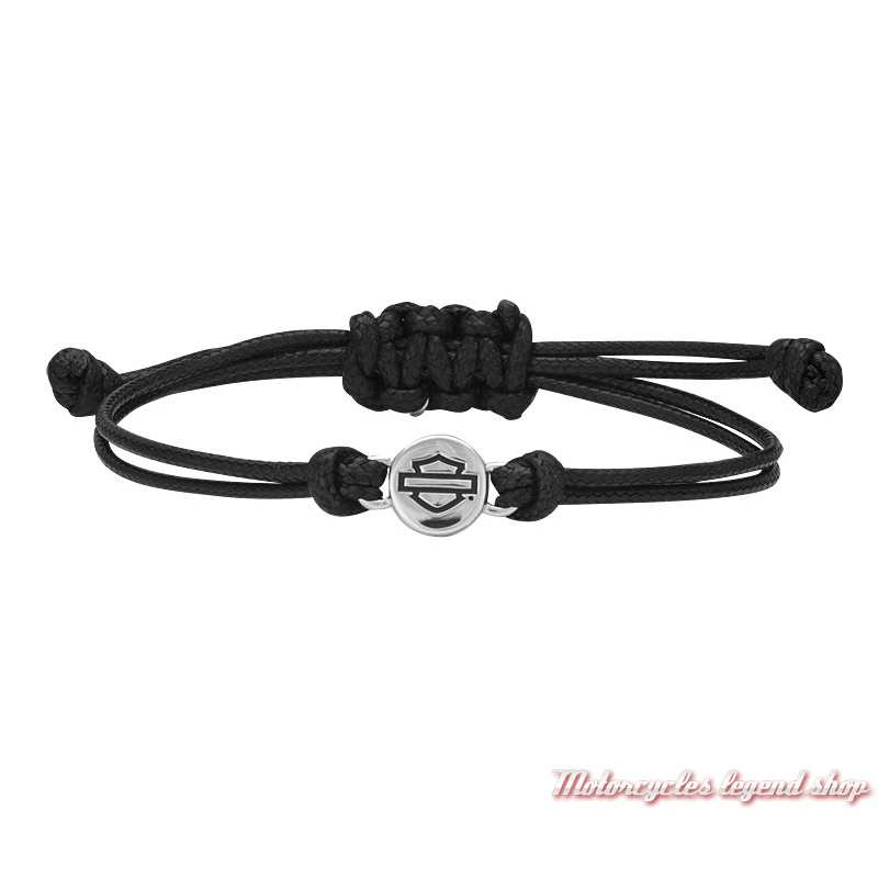 Bracelet B&S argent Harley-Davidson femme, cordon noir réglable, HDB0404