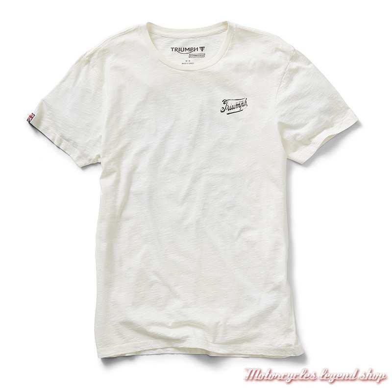 Tee-shirt Presley Triumph homme, blanc, skull, manches courtes, coton, MTSS19401