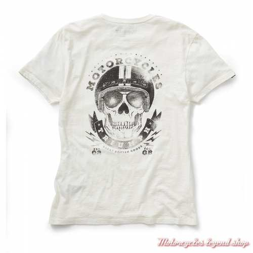 Tee-shirt Presley Triumph homme, blanc, skull, manches courtes, coton, dos, MTSS19401