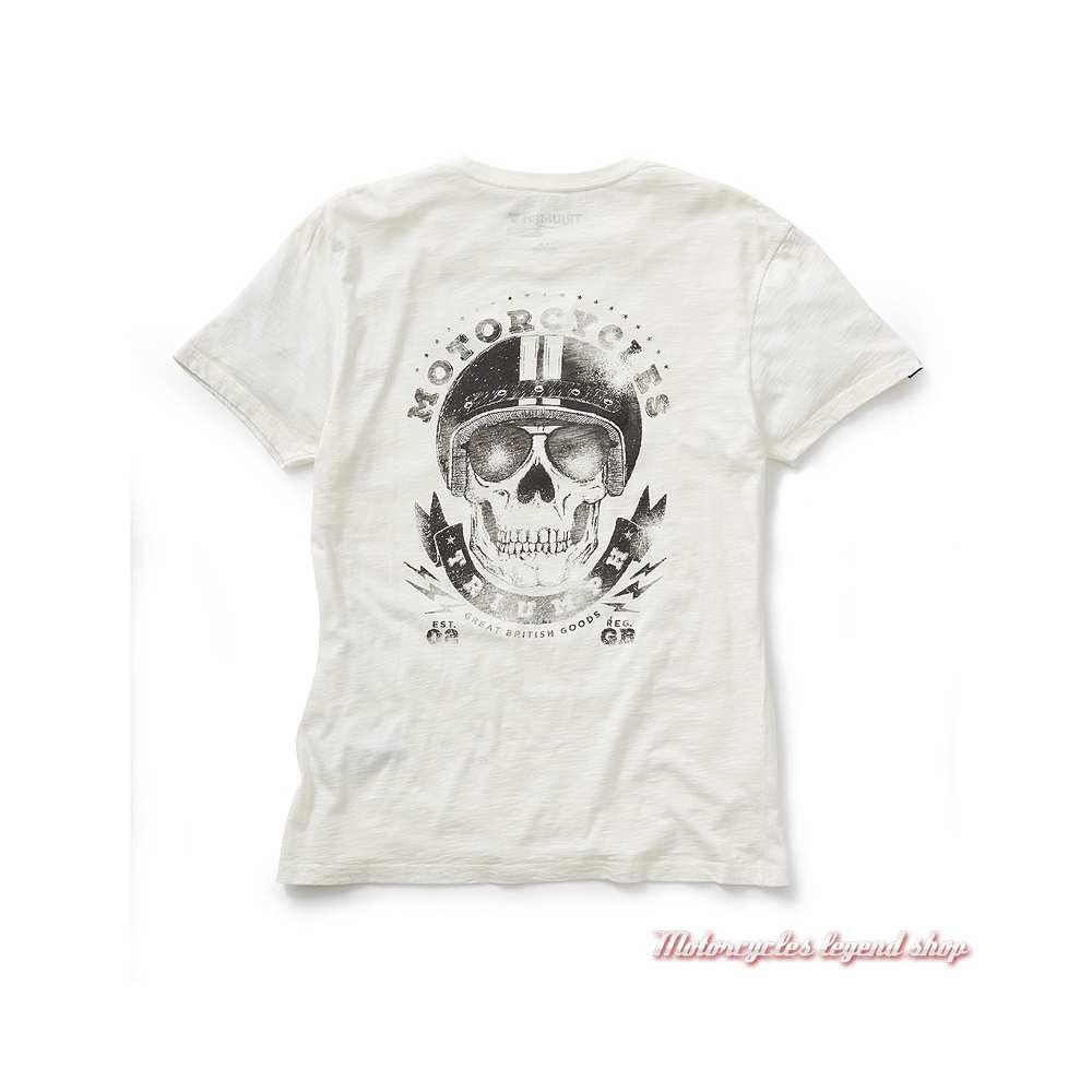 Tee-shirt Presley Triumph homme, blanc, skull, manches courtes, coton, dos, MTSS19401