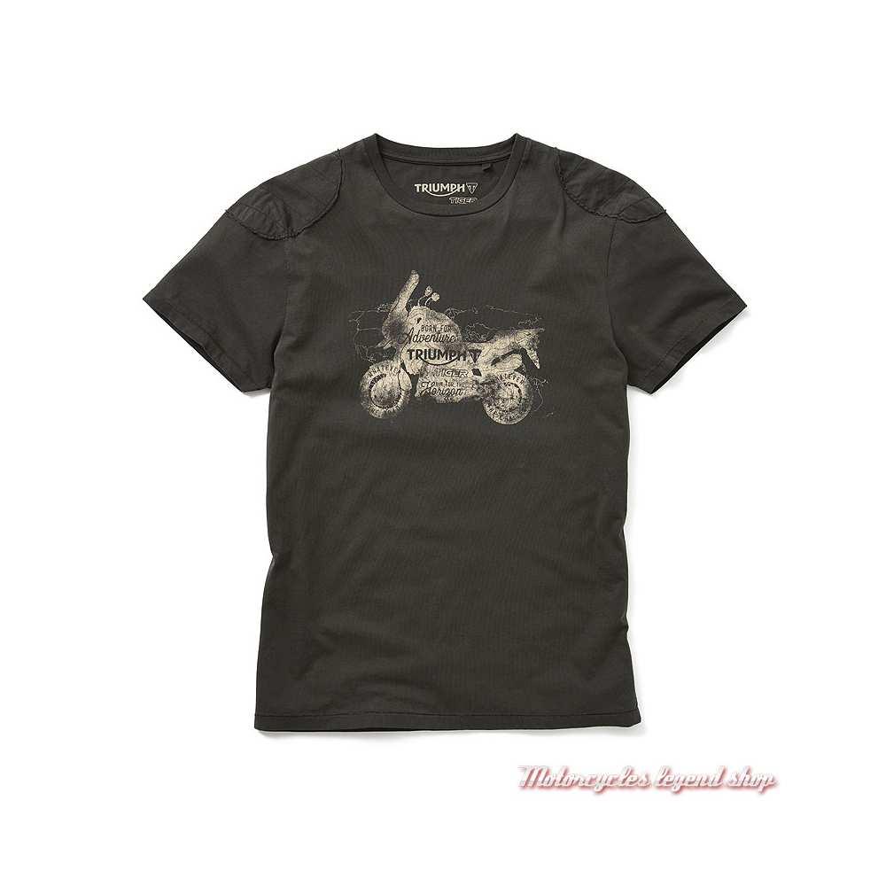 Tee-shirt Royston Triumph homme Tiger, kaki, manches courtes, coton, MTSS19203