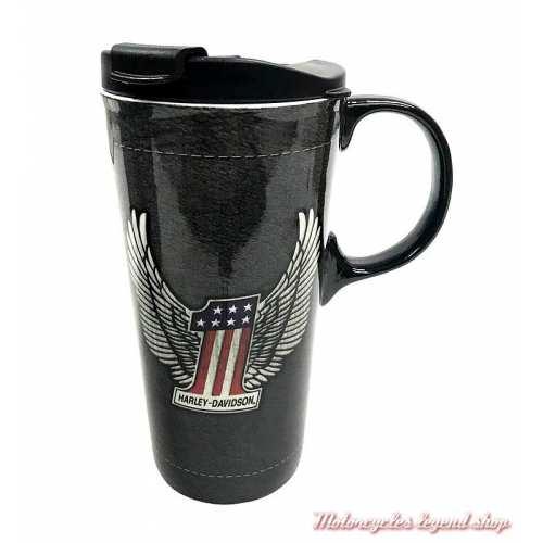 Mug Travel Harley-Davidson, 50 cl, céramique noir, couvercle, One US, 3CTC4917
