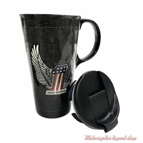 Mug Travel Harley-Davidson, 50 cl, céramique noir, couvercle, One US, 3CTC4917-2
