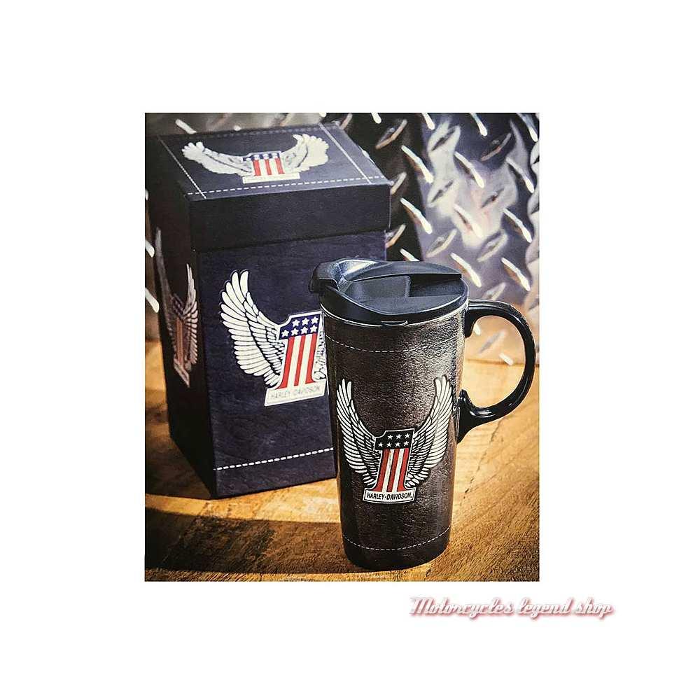 Mug Travel Harley-Davidson, 50 cl, céramique noir, couvercle, One US, visuel, 3CTC4917