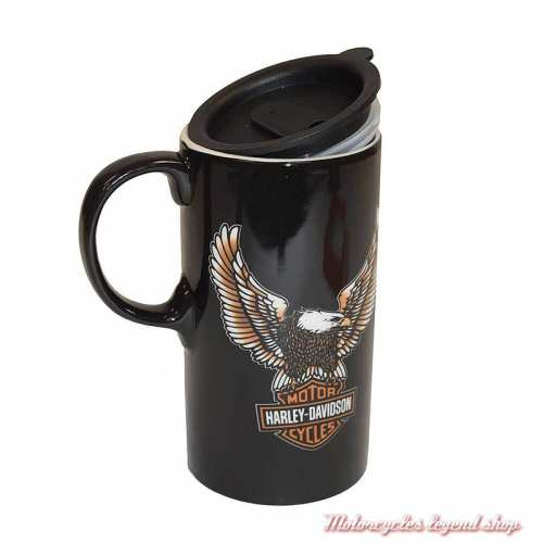 Mug Travel Eagle Bar & Shield Harley-Davidson, 62 cl, céramique noir, couvercle, 3TBT4907