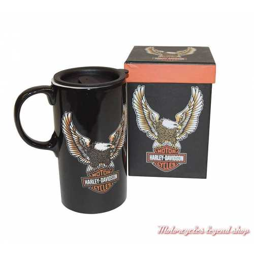 Mug Travel Eagle Bar & Shield Harley-Davidson, 62 cl, céramique noir, couvercle, 3TBT4907-2