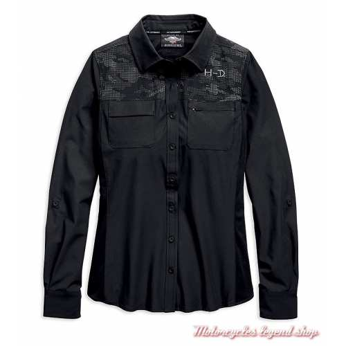Chemise Performance Camo Harley-Davidson femme, noir, polyester, manches longues, 96697-19VW