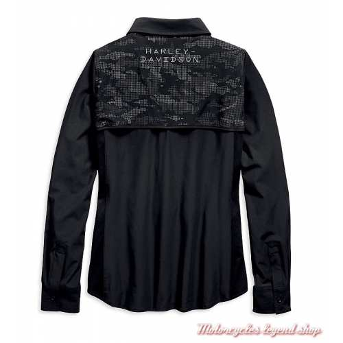 Chemise Performance Camo Harley-Davidson femme, noir, polyester, manches longues, dos, 96697-19VW