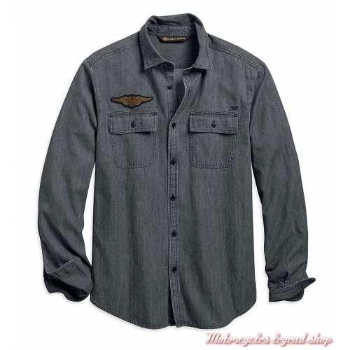 Chemise Castle Rock Harley-Davidson homme, denim gris, manches longues, coton, 96770-19VM