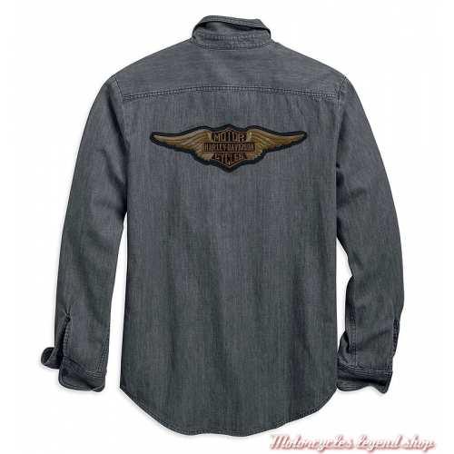 Chemise Castle Rock Harley-Davidson homme, denim gris, manches longues, coton, dos, 96770-19VM